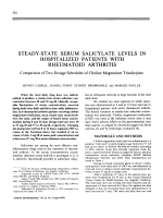 Steady-state serum salicylate levels in hospitalized patients with rheumatoid arthritis.