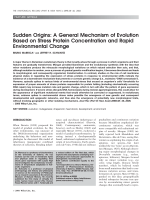 Sudden originsA general mechanism of evolution based on stress protein concentration and rapid environmental change.