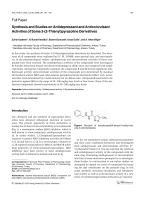 Synthesis and Studies on Antidepressant and Anticonvulsant Activities of Some 3-2-Thienylpyrazoline Derivatives.