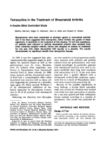 Tetracycline in the treatment of rheumatoid arthritis. A double blind controlled study