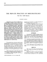 The private practice of rheumatology. the first 1000 patients