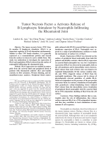 Tumor necrosis factor ╨Ю┬▒ activates release of B lymphocyte stimulator by neutrophils infiltrating the rheumatoid joint.