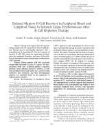 Delayed memory B cell recovery in peripheral blood and lymphoid tissue in systemic lupus erythematosus after B cell depletion therapy.