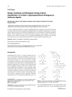 Design Synthesis and Biological Testing of 4 -[4-Substituted-123-triazol-1-yl]podophyllotoxin Analogues as Antitumor Agents.