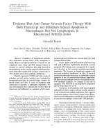 Evidence that antitumor necrosis factor therapy with both etanercept and infliximab induces apoptosis in macrophages but not lymphocytes in rheumatoid arthritis jointsExtended report.