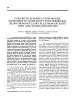 Failure Of klebsiella pneumoniae antibodies to cross-react with peripheral blood mononuclear cells from patients with ankylosing spondylitis.