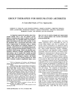 Group therapies for rheumatoid arthritisA controlled study of two approaches.