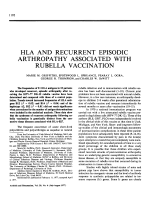 HLA and Recurrent Episodic Arthropathy Associated with Rubella Vaccination.