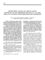 Increased levels of circulating intercellular adhesion molecule 1 in the sera of patients with rheumatoid arthritis.