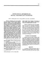 Infectious arthritis in renal transplant patients.