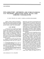 Inflammatory arthritis and subcutaneous fat necrosis associated with acute and chronic pancreatitis.