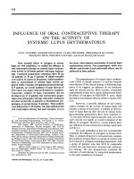 Influence of oral contraceptive therapy on the activity of systemic lupus erythematosus.