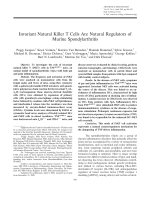 Invariant natural killer T cells are natural regulators of murine spondylarthritis.