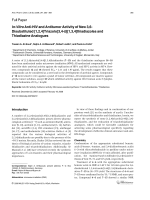 In-Vitro Anti-HIV and Antitumor Activity of New 36-Disubstituted [124]Triazolo[34-b][134]thiadiazoles and Thiadiazine Analogues.