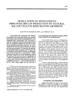 Modulation of spontaneous immunoglobulin production by natural killer cells in rheumatoid arthritis.