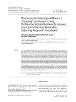Monitoring archaeological sites in a changing landscapeusing multitemporal satellite remote sensing as an early warning method for detecting regrowth processes.