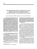 Monosodium urate crystals in the knee joints of patients with asymptomatic nontophaceous gout.