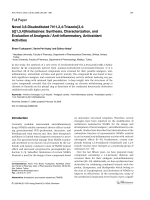 Novel 36-Disubstituted 7H-124-Triazolo[34-b][134]thiadiazinesSynthesis Characterization and Evaluation of Analgesic  Anti-inflammatory Antioxidant Activities.