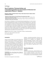 Novel Thiophenes Thienopyrimidines and Triazolothienopyrimidines for the Evaluation of Anticancer and Augmentation Effects of ╨Ю╤Ц-Radiation.