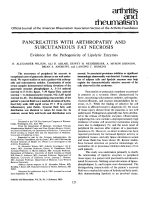 Pancreatitis with arthropathy and subcutaneous fat necrosis.