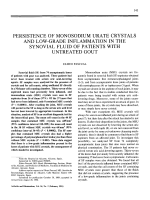 Persistence of monosodium urate crystals and low-grade inflammation in the synovial fluid of patients with untreated gout.