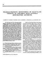 Pharmacokinetic monitoring of salicylate therapy in children with juvenile rheumatoid arthritis.
