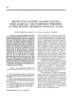 Protective factors against oxygen free radicals and hydrogen peroxide in rheumatoid arthritis synovial fluid.