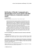 Purification of phenolic compounds and a phenoloxidase from larval cuticle of the red-humped oakworm  Symmerista cannicosta francl.