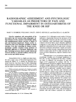 Radiographic assessment and psychologic variables as predictors of pain and functional impairment in osteoarthritis of the knee or hip.