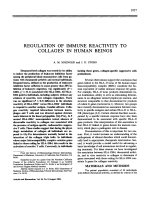 Regulation of immune reactivity to collagen in human beings.
