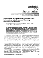 Relationship of the clinical course of systemic lupus erythematosus to the presence of circulating lymphocytotoxic antibodies.