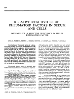 Relative reactivities of rheumatoid factors in serum and cells. evidence for a selective deficiency in serum rheumatoid factor