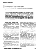 Rheumatology and international health. International relations of the american rheumatism association