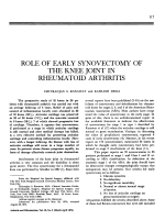Role of early synovectomy of the knee joint in rheumatoid arthritis.