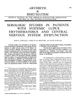 Serologic Studies In Patients With Systemic Lupus Erythematosus And Central Nervous System Dysfunction.