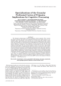 Specializations of the granular prefrontal cortex of primatesImplications for cognitive processing.