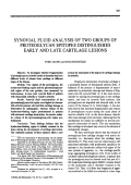 Synovial fluid analysis of two groups of proteoglycan epitopes distinguishes early and late cartilage lesions.