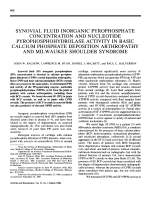 Synovial fluid inorganic pyrophosphate concentration and nucleotide pyrophosphohydrolase activity in basic calcium phosphate deposition arthropathy and milwaukee shoulder syndrome.