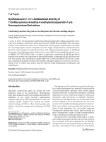 Synthesis and In Vitro Antibacterial Activity of 7-3-Alkoxyimino-4-methyl-4-methylaminopiperidin-1-yl-fluoroquinolone Derivatives.