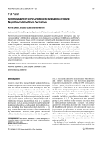 Synthesis and In Vitro Cytotoxicity Evaluation of Novel Naphthindolizinedione Derivatives.