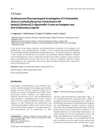 Synthesis and Pharmacological Investigation of 3-Subsituted-amino-2-methylsulfanyl-5678-tetrahydro-3H-benzo[45]thieno[23-d]pyrimidin-4-ones as Analgesic and Anti-Inflammatory Agents.