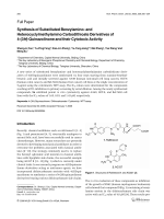 Synthesis of Substituted Benzylamino- and Heterocyclylmethylamino Carbodithioate Derivatives of 4-3H-Quinazolinone and their Cytotoxic Activity.