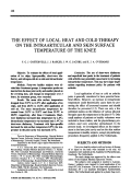 The Effect of Local Heat and Cold Therapy on the Intraarticular and Skin Surface Temperature of the Knee.