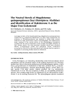 The neutral sterols of Megalotomus quinquespinosus say hemipteraAlydidae and identification of makisterone a as the major free ecdysteroid.