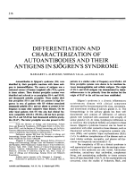 Differentiation and characterization of autoantibodies and their antigens in sjgren's syndrome.
