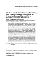 Effects of female wasp accessory secretions  host fat body  and host hemolymph on protein synthesis and egg viability in Microplitis croceipes (Braconidae).