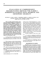 Evaluation of comprehensive rehabilitation services for elderly homebound patients with arthritis and orthopedic disability.
