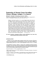 Expression of hornet genes encoding venom allergen antigen 5 in insects.