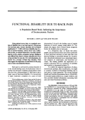 Functional disability due to back pain. a population-based study indicating the importance of socioeconomic factors