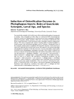 Induction of detoxification enzymes in phytophagous insectsRole of insecticide synergists larval age and species.